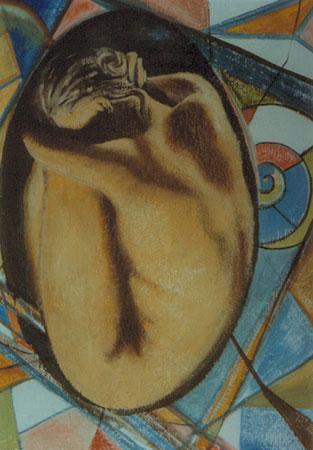 L'Uovo aurico - epossidico olio su tela 70x50 (1998)