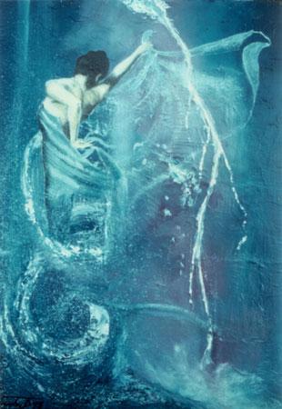 Spiral-dance-fire (acqua-aria-fuoco) - epossidico olio su tela (1997)