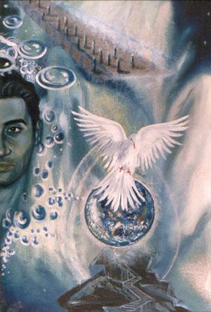 Mondi paralleli - Ritratto con simbolo di pace